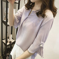 2016 summer new Korean Big yards loose horn sleeve Pearl V-neck shirt was thin chiffon shirt casual blouse women S2167