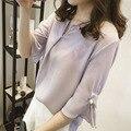 2016 verano nuevo Coreano yardas Grandes flojas de la manga del cuerno de La Perla Con Cuello En V camisa era delgada camisa de gasa blusa ocasional mujeres S2167