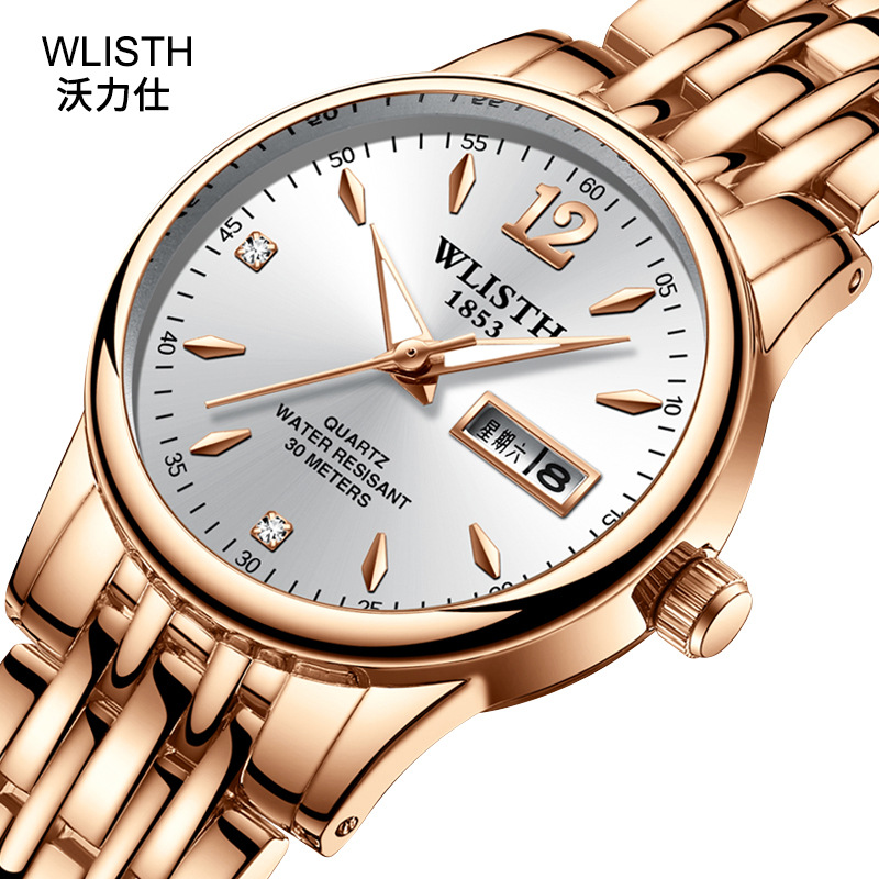 2019 Wlisth Top Brand Date Waterproof Men Lady Lover Full Stainless Steel Wrist Watch Business Dress Gift Montre Homme Reloj