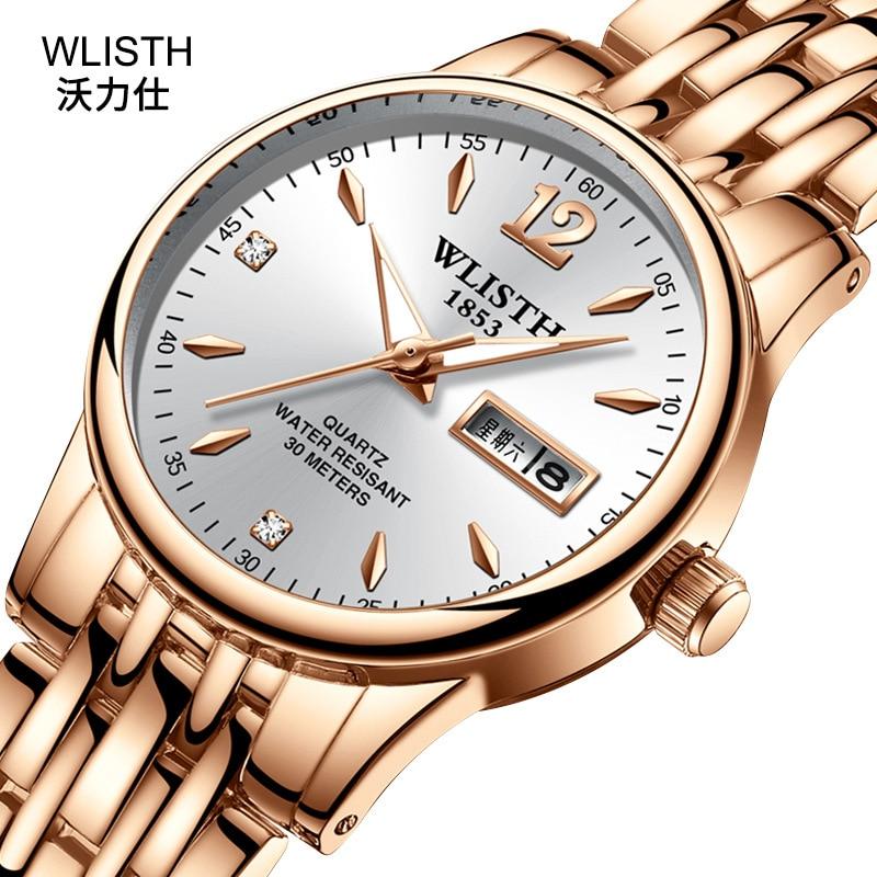 2019 Wlisth Top Brand Date Waterproof Men Lady Lover Full Stainless Steel Wrist Watch Business Dress Gift Montre Homme Reloj