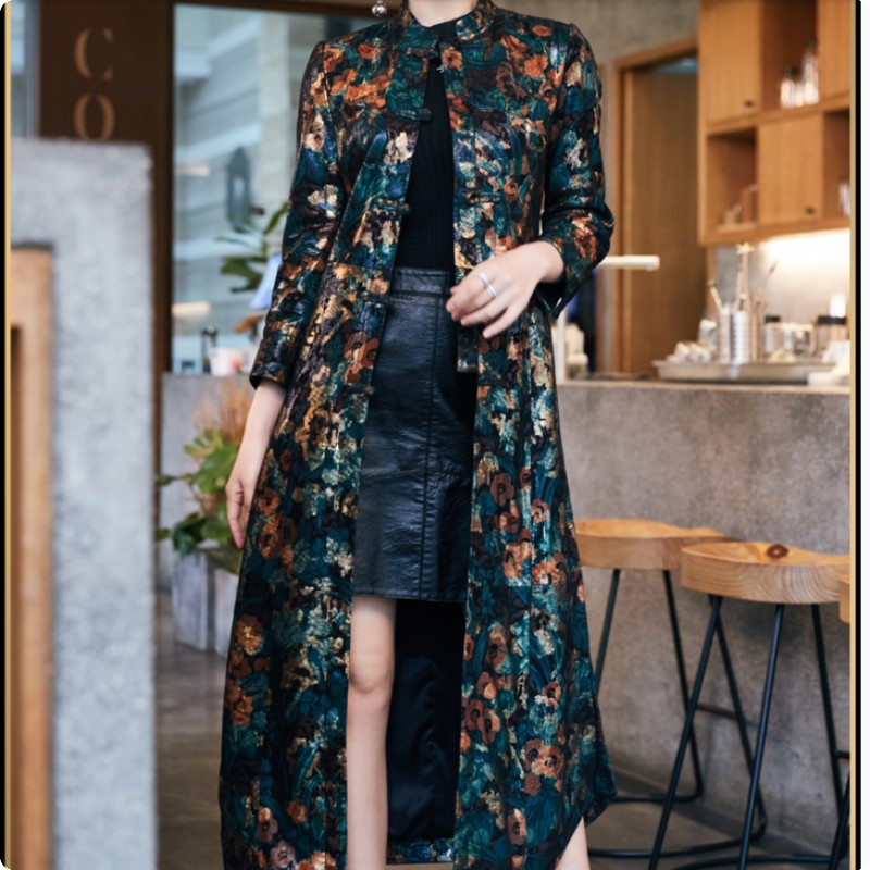 Autumn New Arrival Womens Genuine Leather Jackets Printed Floral Fashion Female Coat Outwear High Quality Chaqueta De Cuero