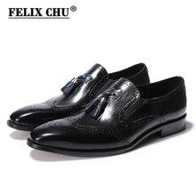 Estilo clássico Deslizamento Em Loafers Borla Sapatos de Casamento Festa Dos Homens de Couro Genuíno Respirável Calçados para Homens Preto Tamanho 39- 46