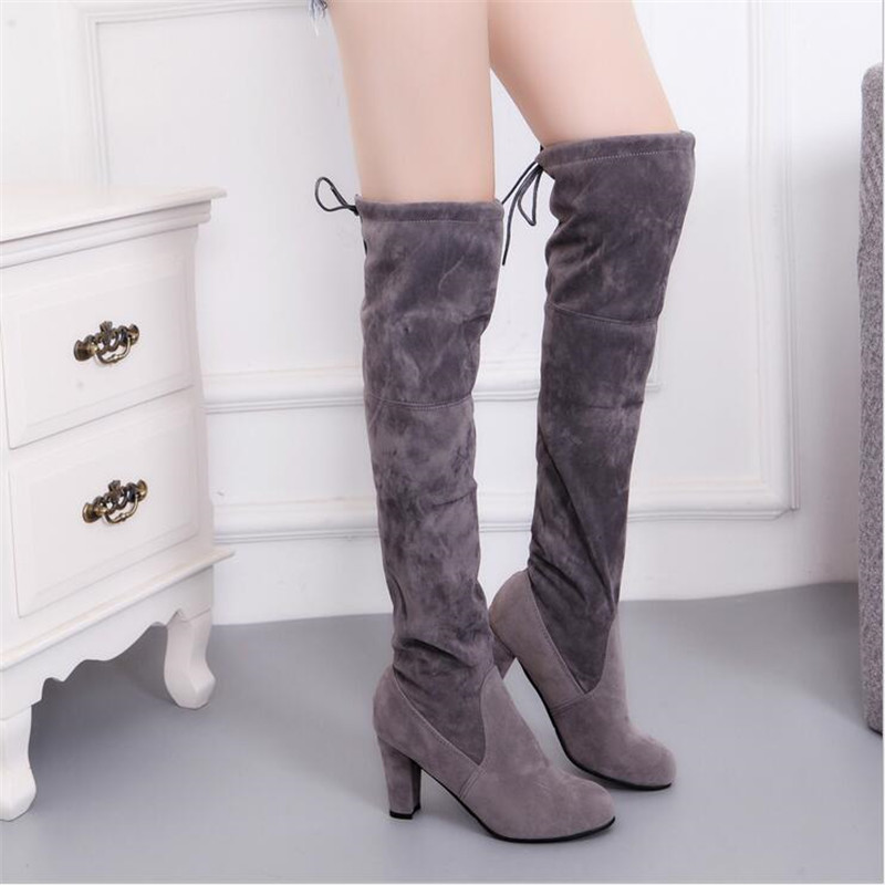 Female Winter Thigh High Boots Faux Suede Leather High Heels Women Over The Knee Botas Mujer Shoes Plus Size 34-43 Women Boots