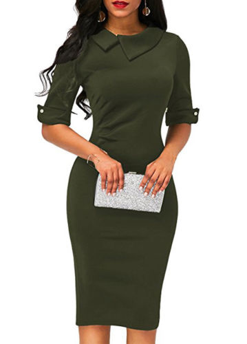 Women-Bandage-Bodycon-Half-Sleeve-Evening-Party-Work-Office-Midi-Dress (4)