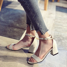 Zanpace Sandals 2019 Cheap High Heels Sandilas Ankle Strap Women's Shoes Spring Gladiator Shoes Cover Heel Party Sandal недорого
