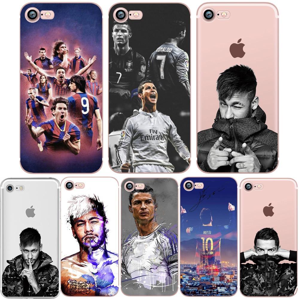 Phone Case for iphone 5S 7 8 6S 6 PLUS X 10 5 SE CR7 Ronaldo Messi Neymar Football Barcelona Soccer Soft Silicone Shell Capinha