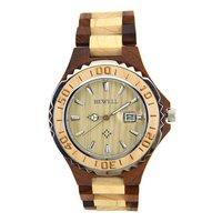 BEWELL W100BG Wood Watch Men Analog Display Auto Date Quartz Mens Watches Top Brand Luxury Water