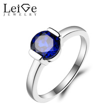 Leige Jewelry Blue Sapphire Ring Wedding Ring September Birthstone Round Cut Blue Gemstone 925 Sterling Silver Solitaire Ring