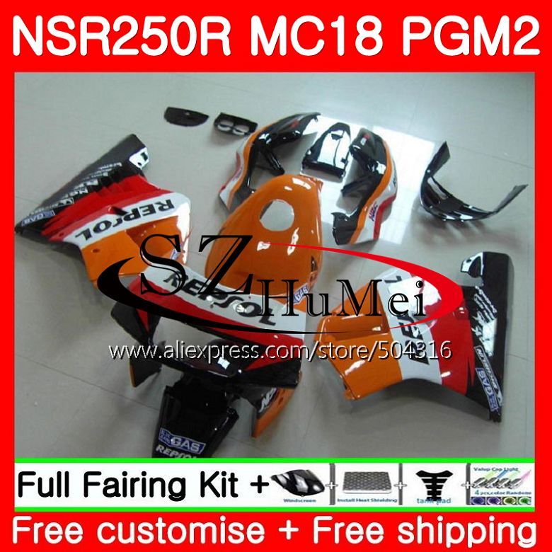 MC18 For HONDA PGM2 NSR250 <font><b>NSR</b></font> <font><b>250</b></font> R NSR250R 88 89 Repsol orange 124SH11 MC16 <font><b>NSR</b></font> 250R NS250 RR NSR250RR 1988 1989 88 89 Fairing image