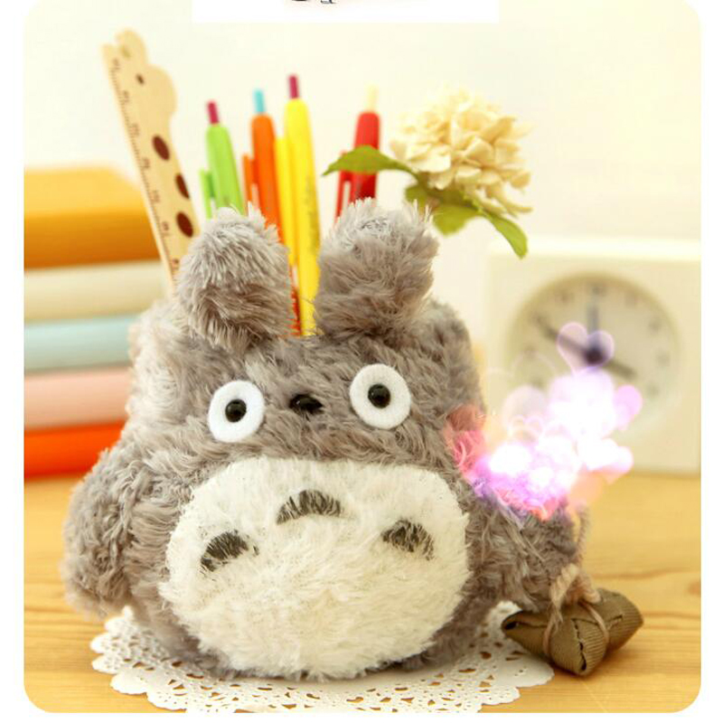 I46 Cute Kawaii Totoro Plush Pen Pencil Holder Case Storage Holder Desktop Decor Gift Student Stationery School Office Supply polygon wolf 3d printing fashion women party bolsa feminina drawstring bag travel backpack mochila man s bags