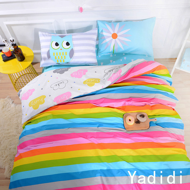 YADIDI 100% Cotton Rainbow Owl Bedding Set Cartoon Modern Flower Floral Twin Queen Size Stripe Bed Duvet Cover Sheet Summer