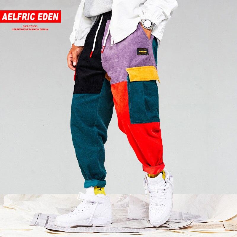 Eden Aelfric Bolsos Das Calças De Carga Dos Homens De Veludo Patchwork 2018  Corredores Harém Harajuku be9bef4de19