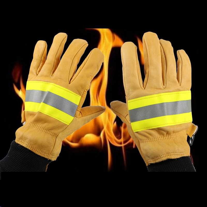 1Pair Work Safety Protective Gloves Anti-Cut Cowhide Welding Gloves Fire High Temperature Kitchen Wear-Resistant Microwave Oven
