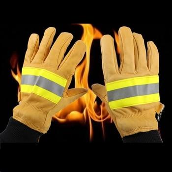 1 paar Werk Veiligheid Beschermende Handschoenen Anti-Cut Koeienhuid Lashandschoenen Fire Hoge Temperatuur Keuken Slijtvaste Magnetron oven