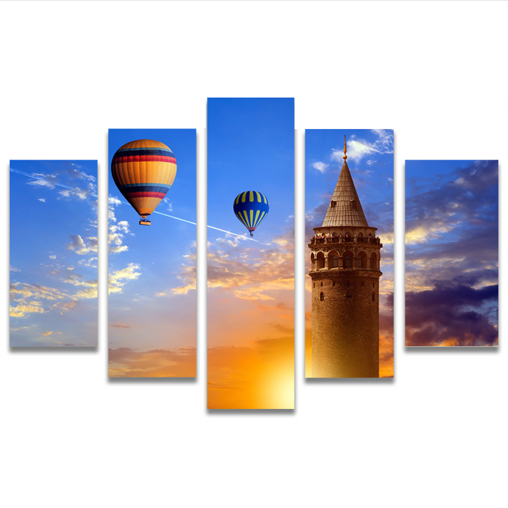 Unframed Canvas Painting Sky Hot Air Balloon Castle Photo Picture Prints Wall Picture For Living Room Wall Art Decoration