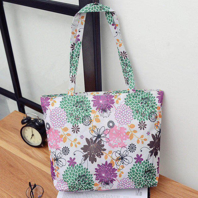 Fashion Multicolor Flower Pattern Polyester Women Shoulder Bag Casual  Shopper Handbag Waterproof Beach Bag Tote Lunch Bag da4544fafb391