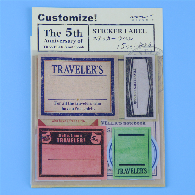 15 Pcs / Pack Vintage Travel Stamp Paper Notebook Decorative Sticker Diary Stickers # Midori Traveler's Notebook