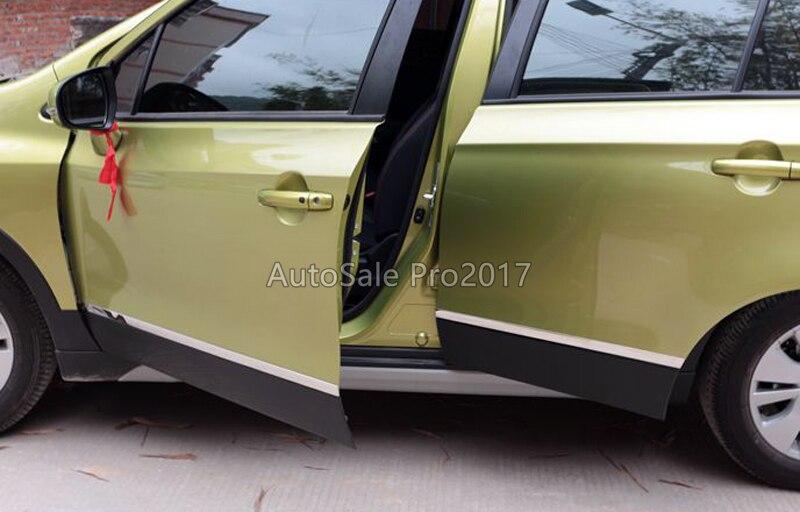 For Suzuki sx4 s-cross 2014-2018 Stainless steel Car side door body molding streamer strip cover trim sticker decor car styling