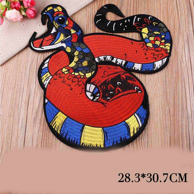 1PCS Punk Style Animal Big Snake Patch Badges Embroidered Applique Clothes Garment Apparel Accessories DIY Biker Jacket Badge