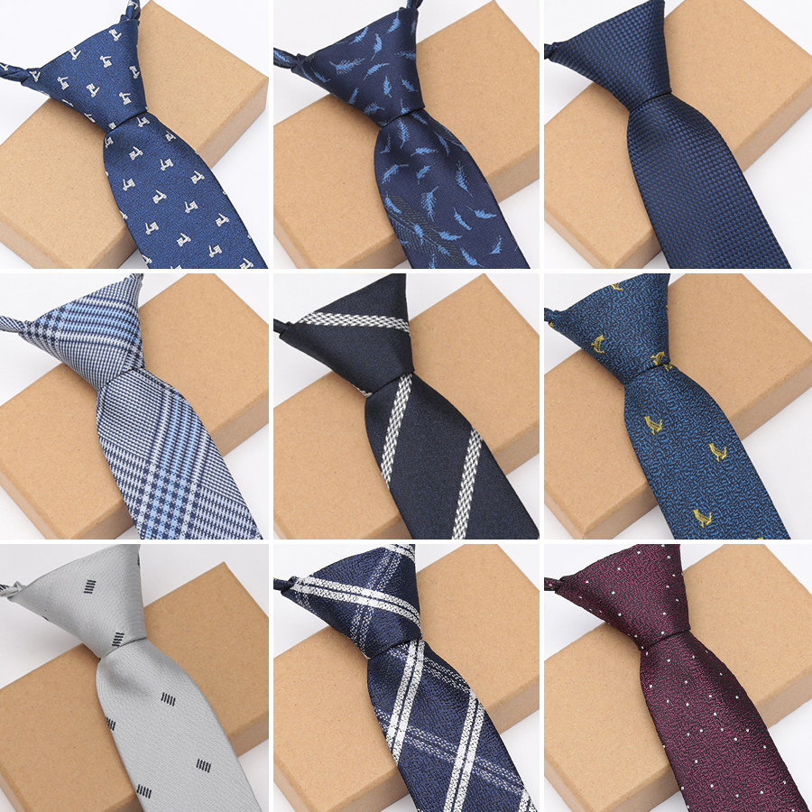 XGVOKH Men Zipper Lazy Ties Business Necktie For Man Tie Easy To Pull Rope Neckwear Wedding Ties Fashion Shirt Dress Accessories