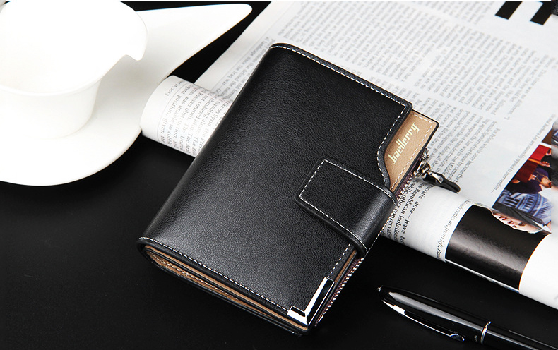 Leather Multifunction Men Wallets Zipper Pocket Trifold Purse Card Holder Hasp Wallet Zipper Purse brown one size 8