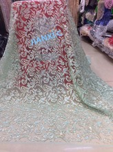 New design african lace fabric JIANXI.C 92014 glued glitter sequins French tulle lace fabric