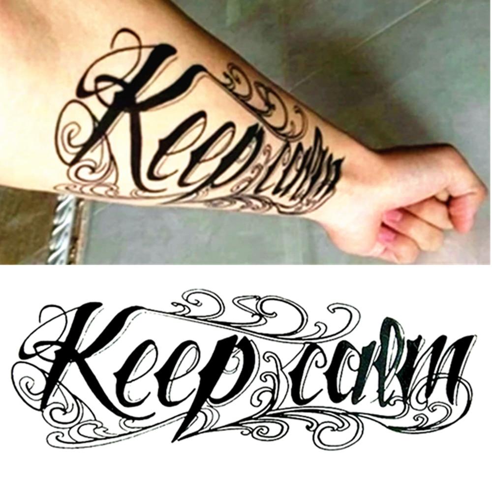 M Theory Temporary Tattoo Body Art Retro Word Keep Calm
