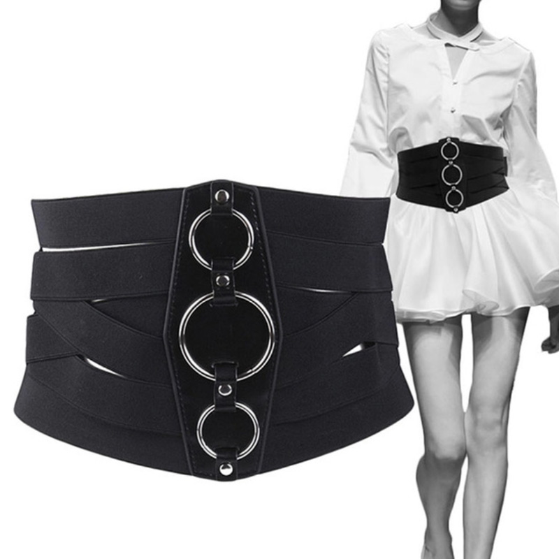 Fashion Women Black Cummerbunds Corset Belt PU Leather + Mental Zipper Bandage HOT Elastic Cincher Wide Waistband Cummerbund