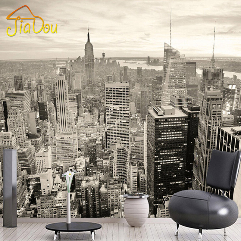 Custom mural european retro building mural bedroom living for Black and white new york mural wallpaper