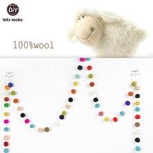 Multicolor Sintió Bola Guirnalda, 2 cm, 9 PIES 2.7 METROS 30 de fieltro de lana bolas, 100% de lana, sala de las niñas, niñas infantiles