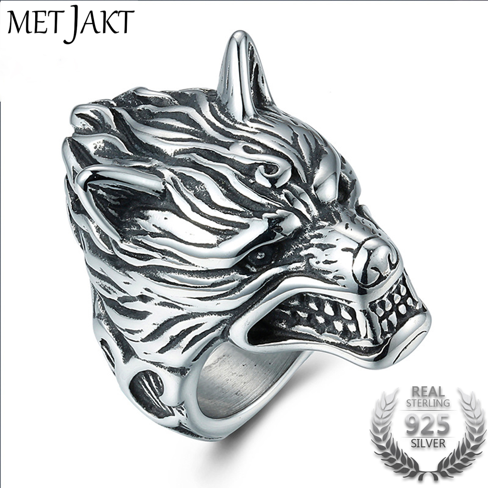 MetJakt Hyperbole Ferocious Wolf Head Ring Solid Real 925 Sterling Silver Ring For Men Vintage Thai Silver Jewelry
