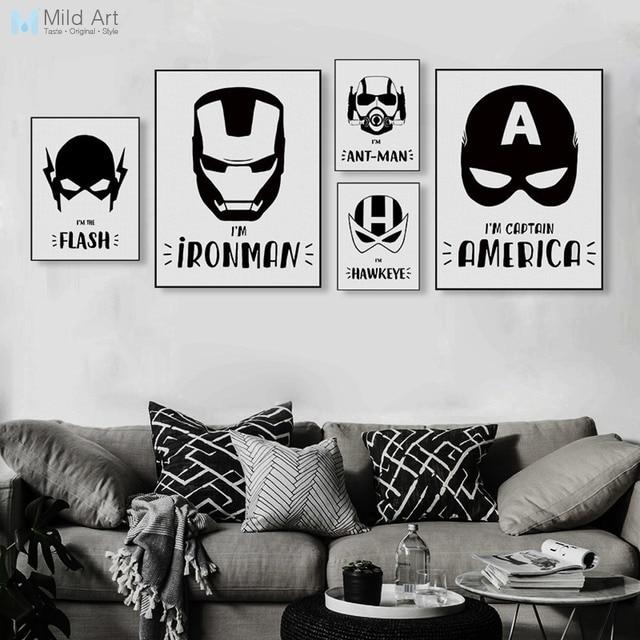 Black White Superhero Mask Infinity War Posters Prints Nordic Boy Kids Room Wall Art Picture Home