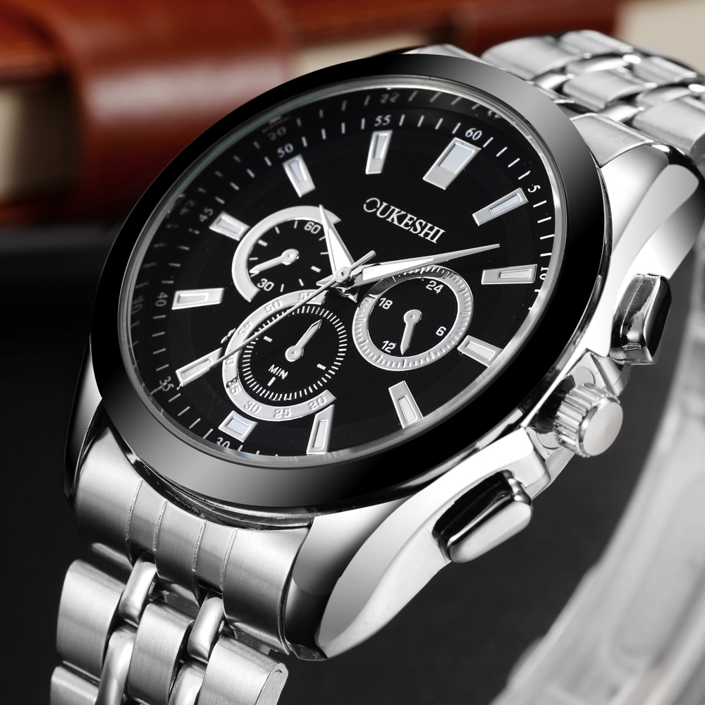 OUKESHI Stainless Steel Strap Men Watch Boutique Business Male Quartz Wristwatch Fashion Sport Dropshipping Watches Clock 2017 цена 2017