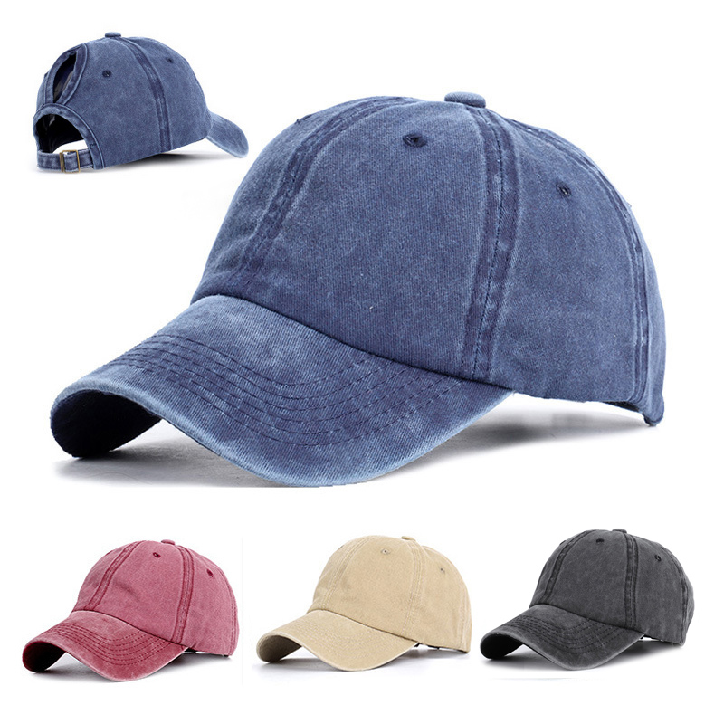 Women Ponytail Baseball Cap Summer Washed Denim Cotton Cap Outdoor Adjustable Trucker Dad Hat Ladies Autumn Sun Visor Hats
