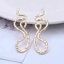 Europeu exagerado simples dragão cobra forma oco flor brincos de metal irregular geométrica brincos de gota para mulher