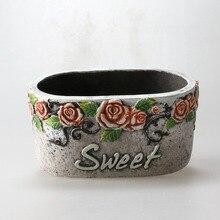 Embossed Flowerpot Concrete Silicone Mold DIY Plaster Cement Mould for Succulent Plants Garden Bonsai Decorating Tool
