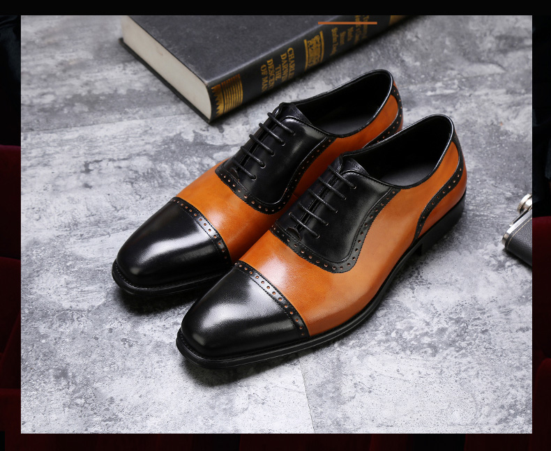 Mens Oxfords Shoes Leisure Casual Genuine Leather Wedding Dress Shoes For Men Business Brogues Shoes Moccasins Square Toe Shoes Shoes Men's Shoes