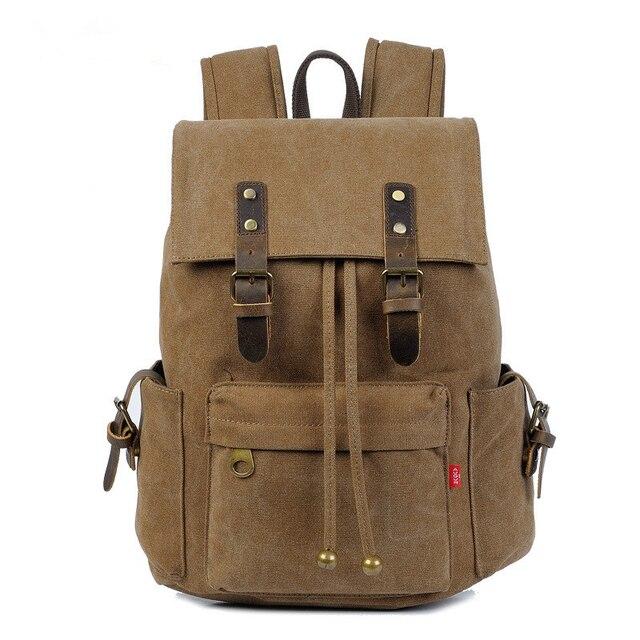 f11a1af3e5 Black Canvas Backpack Men Genuine Leather Military Backpack Girl Vintage  High School Backpack Women Laptop Backpack Bag Rucksack