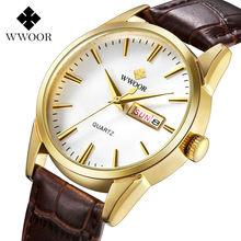 WWOOR Brand Genuine Cow Leather Strap Male Date Clock Men Casual Quartz Watch Men Wrist Sport Watch Fashion Relogio Masculino цена