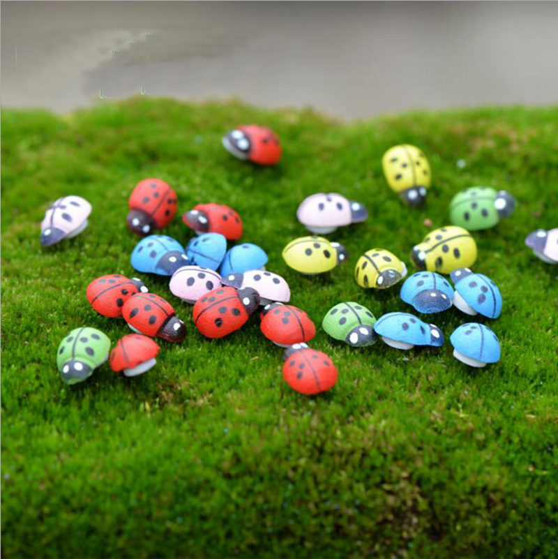 Red Or Mix 100pcs Ladybug Wood Craft Ornaments For jardin Home Wallstickers Garden Decorative DIY Accessories Micro Landscape