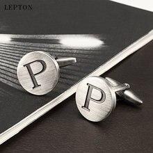 Лептон буквы p запонки «Алфавит» для мужчин античные Посеребренные