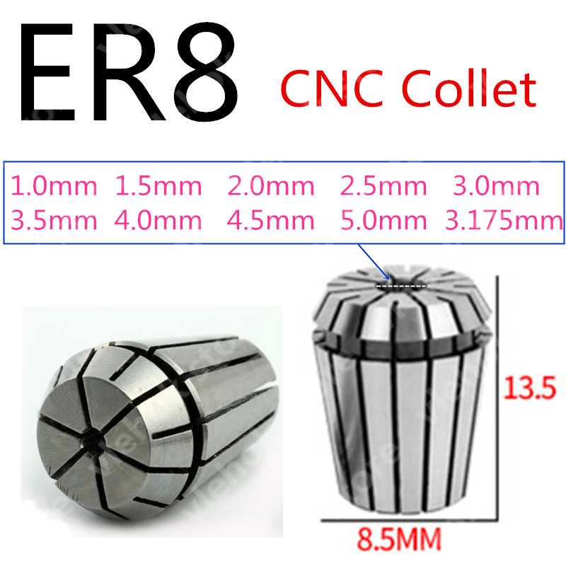 ER8 1mm 1.5mm 2mm 2.5mm 3mm 3.5mm 4mm 4.5mm 5mm 3.175mm Replace For CNC Milling Collet Chuck Lathe Tool Engraving Machine ER 8