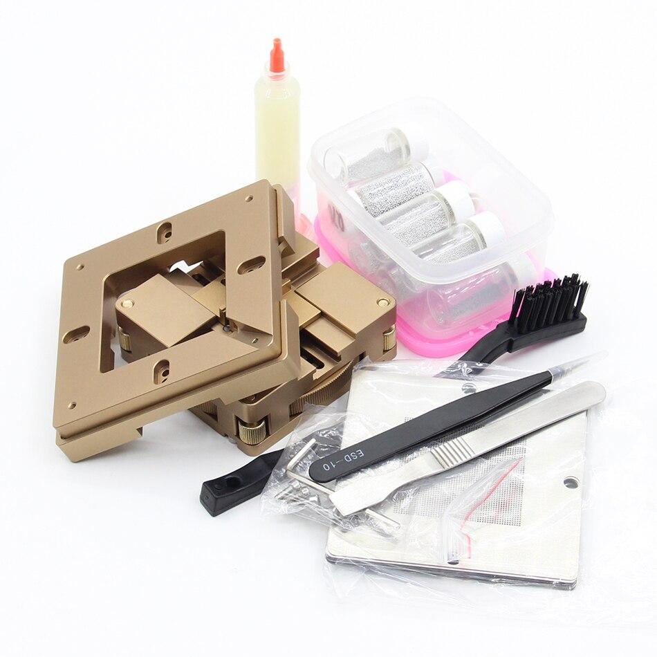 BGA reballing kit, universal BGA Jig Holder, 80/90mm BGA reball station with auto adjust and magnet + Solder ball template bga jig with screws 4pcs