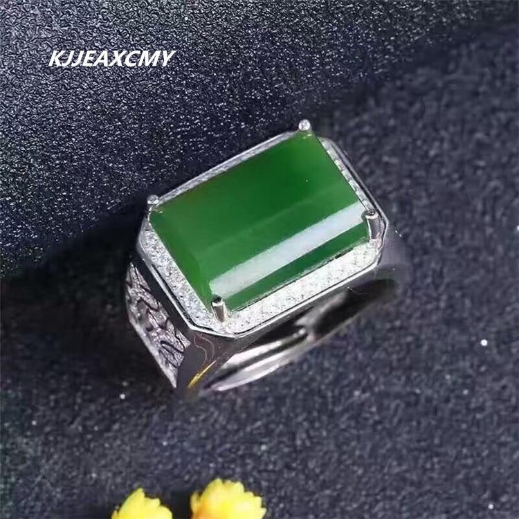 KJJEAXCMY Jasper ring, S925 silver inlay and field spinach, green jasper, Mens Rings, jewelry, silver ornaments