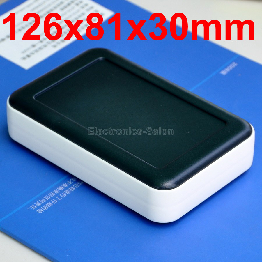 HQ Hand-Held Project Enclosure Box Case, Black-White, 126 X 81 X 30mm.