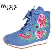 Vintage Embroidery Boots Old BeiJing Chinese Cotton canvas embroidered Floral increase heel high-quality winter Short boots