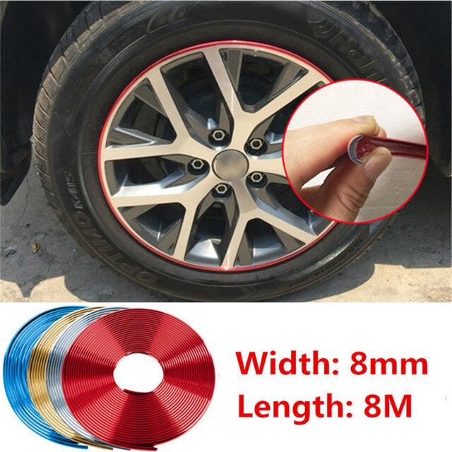 8M Chrome Styling Strip Exterior Headlight Sticker Car Motorcycle Rim Wheel Hub Cover Protector For BMW Toyota Ford Focus Honda