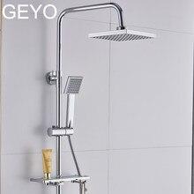 5defca32e51e Plástico ABS baño cabeza de ducha Panel grande cromo cuadrado cabeza de  lluvia de ahorro de agua Dispositivo de diseño clásico G..