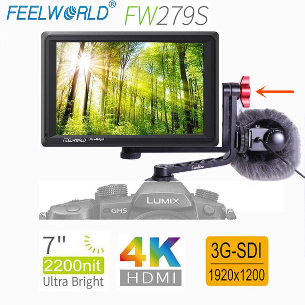 Feelworld FW279S 7 Polegada IPS 3G K HDMI DSLR Camera Campo Monitor de SDI 4 2200nit Ultra Brilhante Full HD 1920x1200 para Canon Sony Nikon