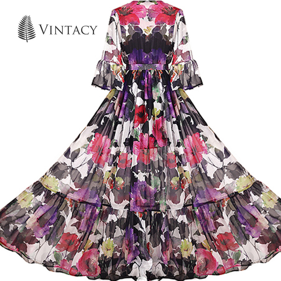 Vintacy Maxi Dress Sexy V Neck Floral Party Perspective Long Dresses for Women Vintage Three Quarter Sleeve Chiffon Maxi Dress